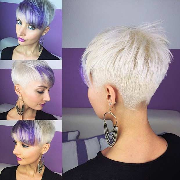 Blonde Pixie Cut with Purple Bangs