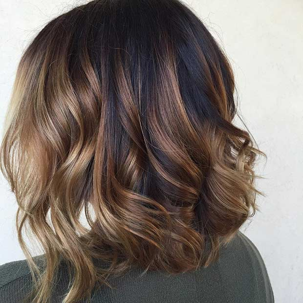 Curly Long Bob with Caramel Balayage Highlights