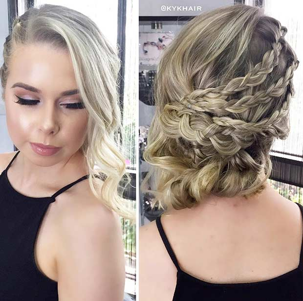 Side Swept Updo with Braids