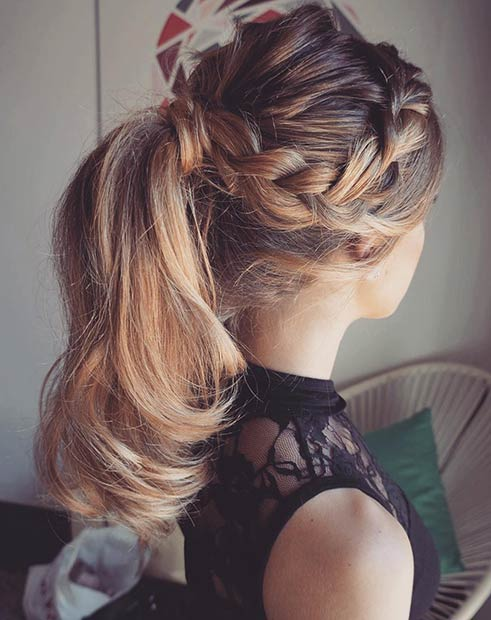 Braids into a High Ponytail Hairstyle