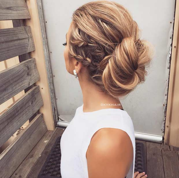 Side French Braids into a Bun Updo