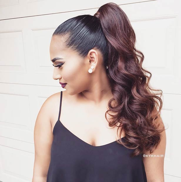 Elegant Curly High Ponytail For Long Hair