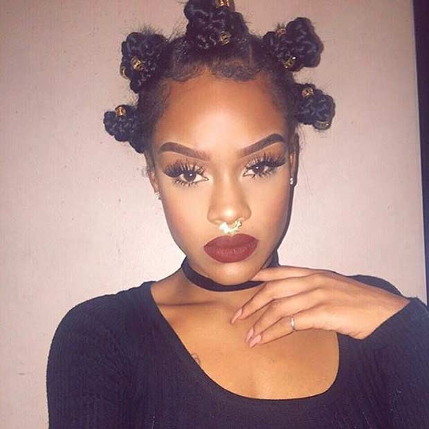 basket weave hairstyle : Braided Bantu Knots Protective Hairstyle