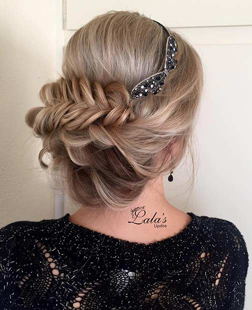Fishtail Updo with Headband
