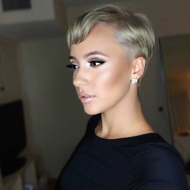Short Blonde Pixie Cut with Side Bangs