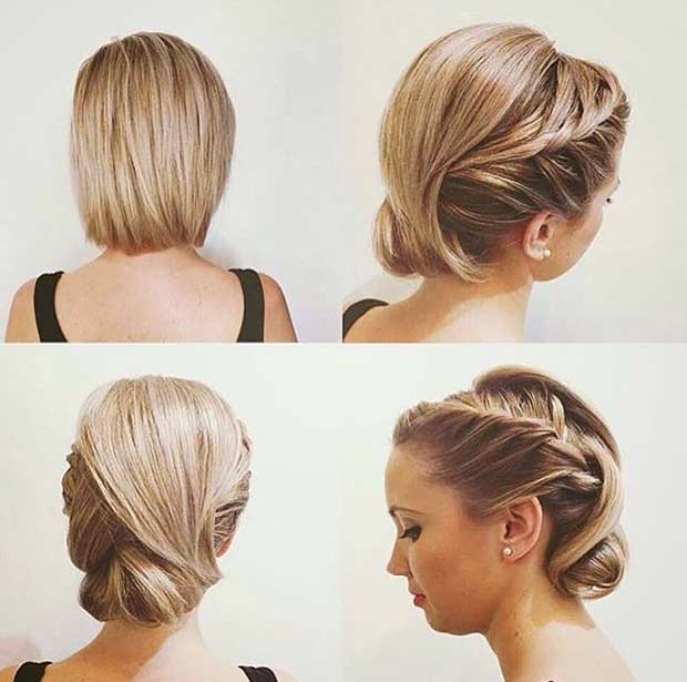 Wedding Updo For Bob Hair
