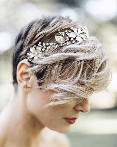 31 wedding hairstyles for short to mid length hair stayglam wedding pixie hairstyle with headband junglespirit Choice Image