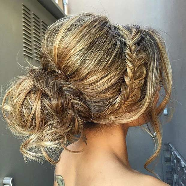 35 gorgeous updos for bridesmaids stayglam teased fishtail updo for long hair pmusecretfo Images