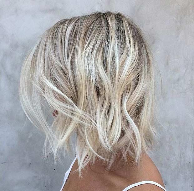 Choppy Layered Beige Blonde Lob Haircut