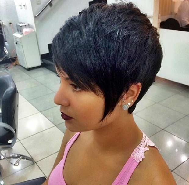 Longer Black Pixie Haircut