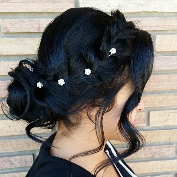 Cute Updo for Bridesmaids with Braids