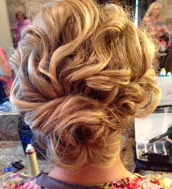 Curly Hair Bun Updo for Bridesmaids