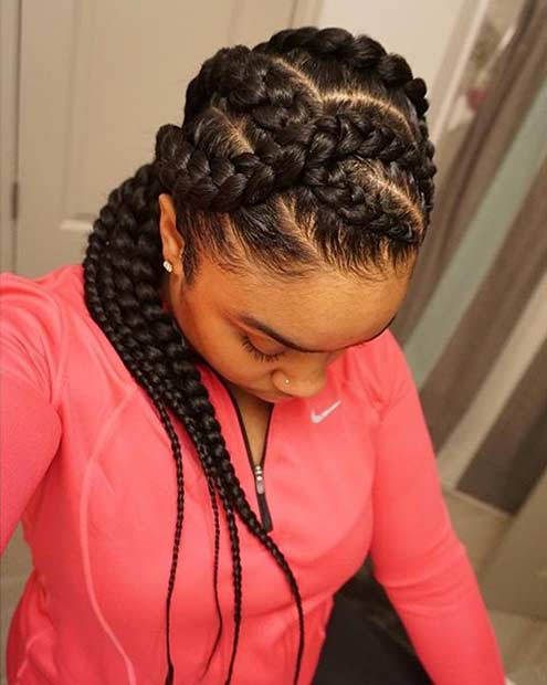 Big Cornrows Protective Hairstyle