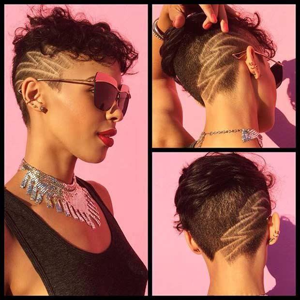 Pixie Cut with Design and Undercut