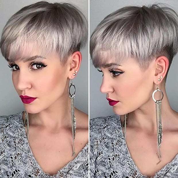 Edgy Grey Pixie Cut