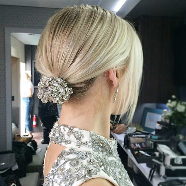 Elegant Wedding Bun Updo For Short Hair