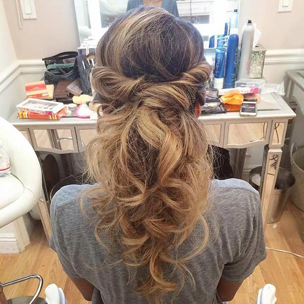 Curly and Messy Half Updo