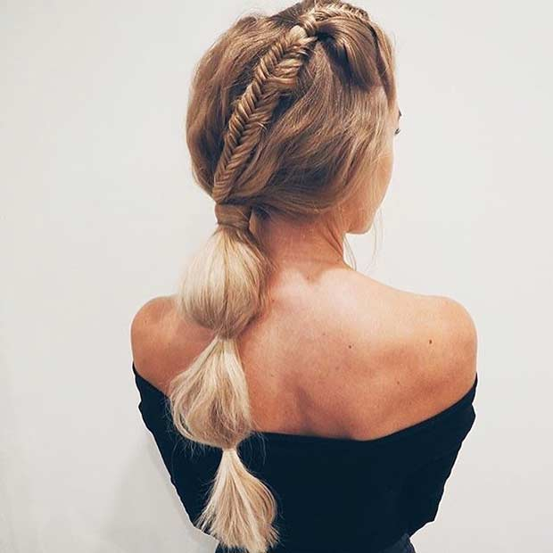 Elegant Bubble Low Ponytail