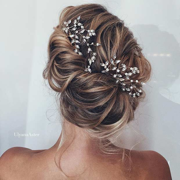 Messy Updo with a Hairpiece