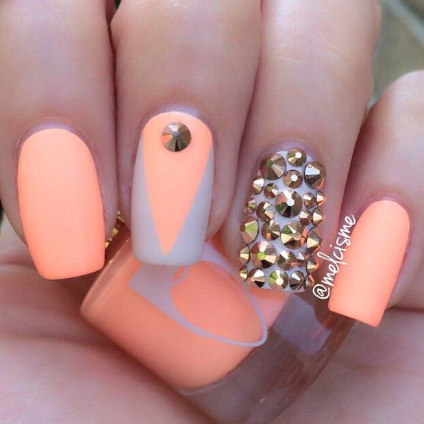 Matte Neon Orange Nail Design for Beach
