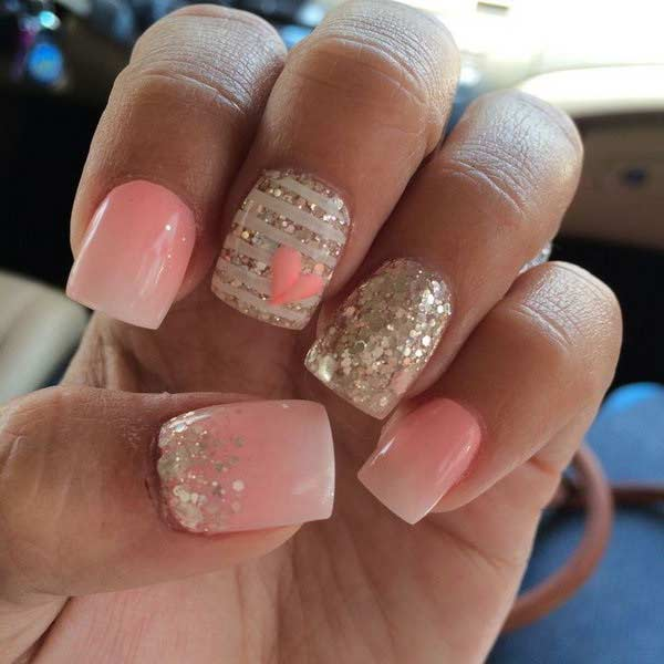 Pink and Gold Summer Nails