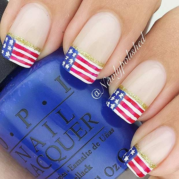 American Flag French Tip Nail Design