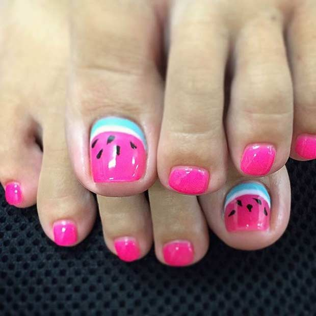 21 cute watermelon nail ideas stayglam watermelon toe nail design prinsesfo Images