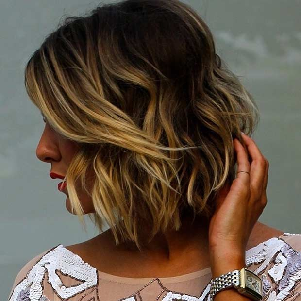 Choppy Bob Haircut with Caramel Balayage Highlights