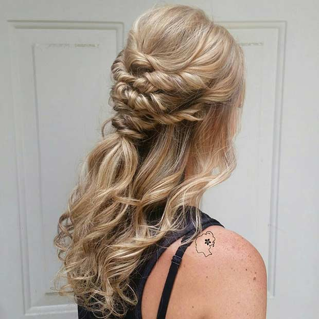 Twisted Curly Half Updo For Bridesmaids