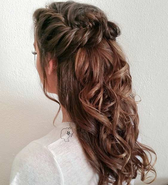 Half Up Half Down Hairstyles prettiest half up and half down hairstyle for romantic brides Curly Fishtail Braid Half Updo For Long Hair