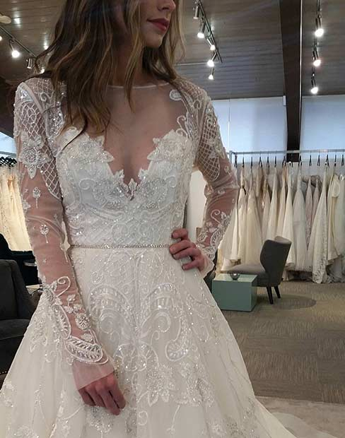 White Lace Wedding Dress with Long Sleeves