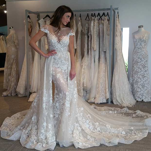 Unique Lace Wedding Dress with Short Sleeves