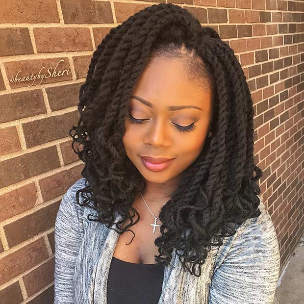 Curly Medium Length Crochet Twists