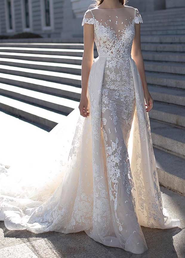 Lace Overlay A Line Wedding Gown