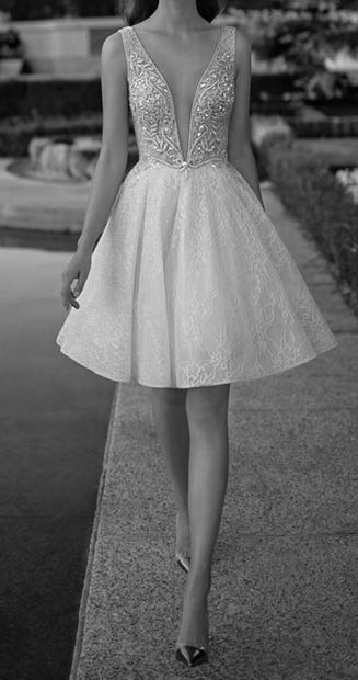 Short V Neck Wedding Dress