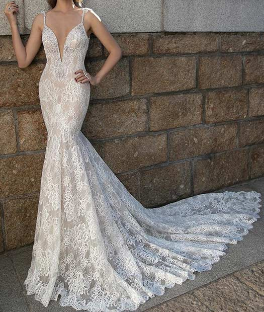 Sexy Berta Bridal V Neck Dress