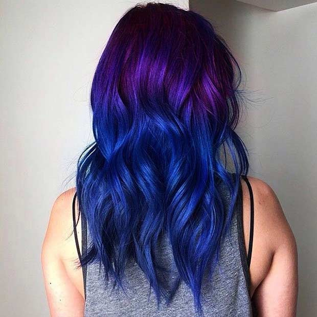 Purple And Blue Hair Tips