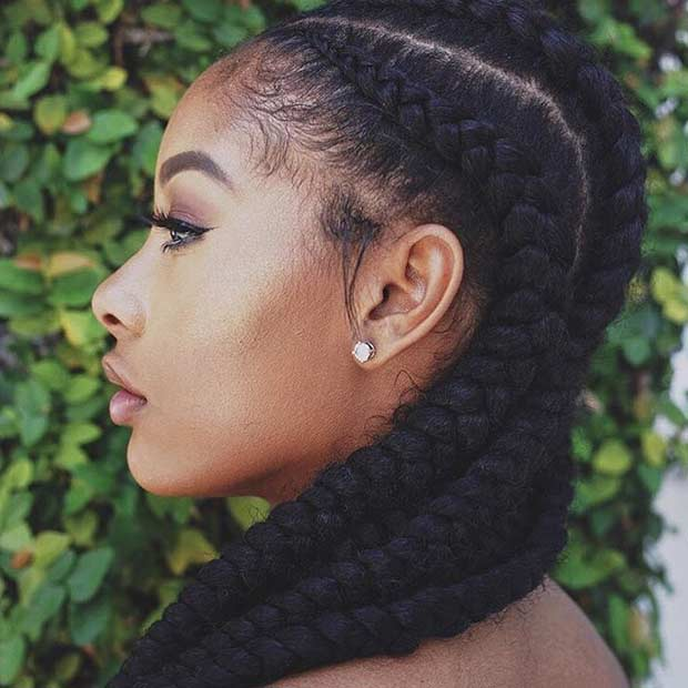 Jumbo Cornrows Protective Style for Black Women