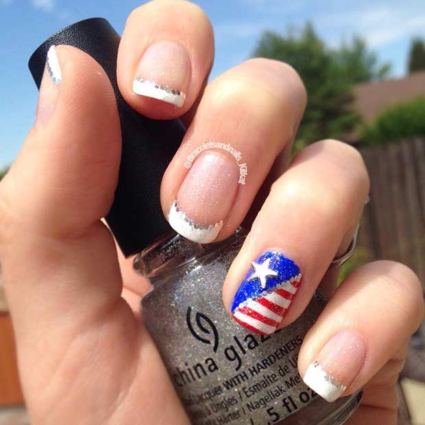 French Tip American Flag Accent Nail