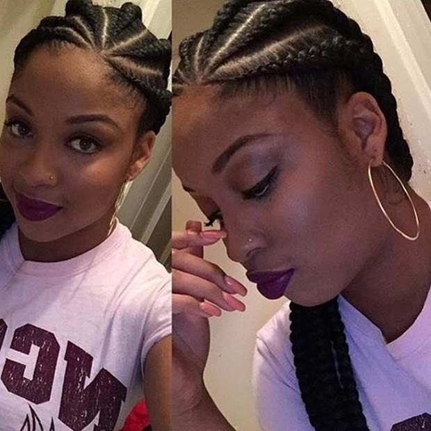Medium Ghana Braids Style for Black Women