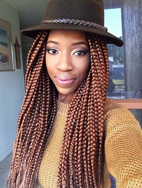 Light Brown Poetic Justice Braids with Hat