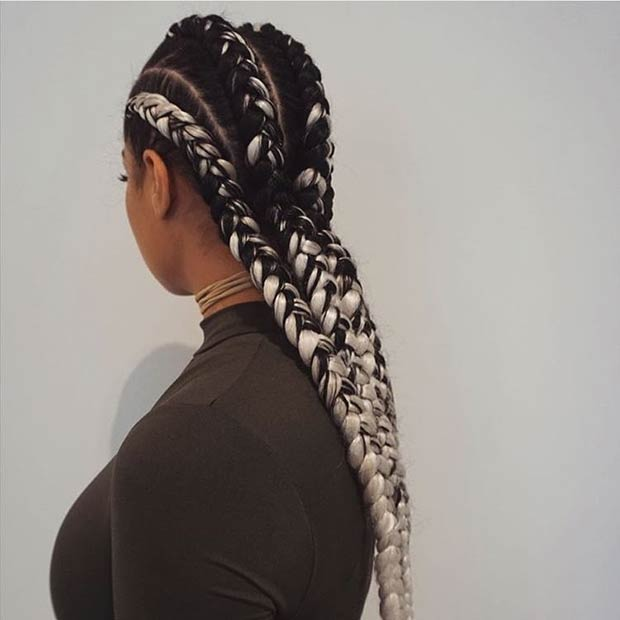 Black and White Ghana Braids Style