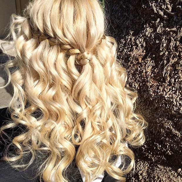 Half Up Half Down Hairstyles 25 best half up wedding hair ideas on pinterest long bridal hair bridal hair half up and half up half down wedding hair Curly Waterfall Braid Half Updo For Bridesmaids