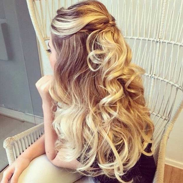 Curly Teased Hair Half Updo
