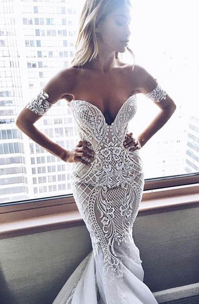 Off Shoulder Mermaid Wedding Dress