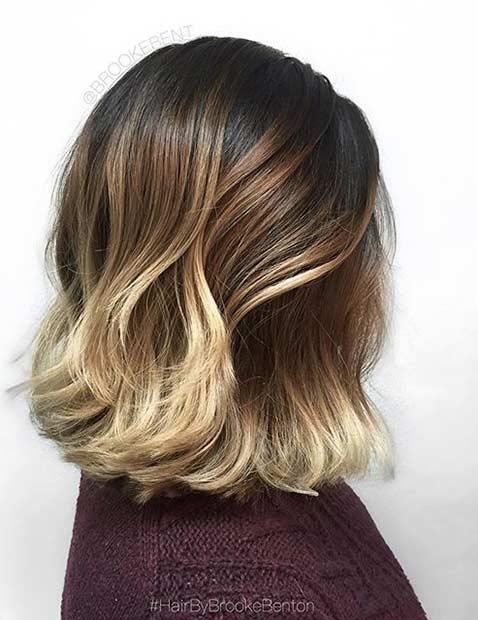 Blonde Balayage Ombre on Lob Haircut