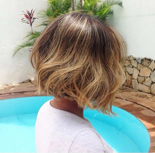 Short Bob with Honey Blonde Balayage Highlights