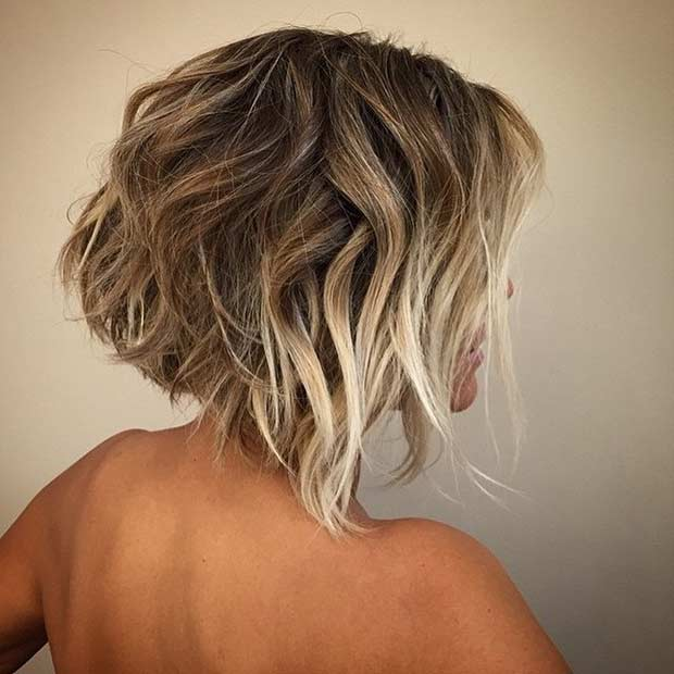 Short Bob Hairstyle with Front Blonde Balayage Highlights