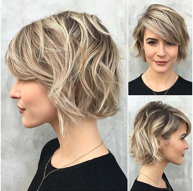 Ash Blonde Bob with Blonde Balayage Highlights