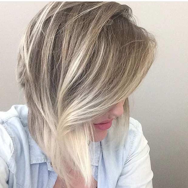 Ice Blonde Balayage Highlights on Bob Haircut